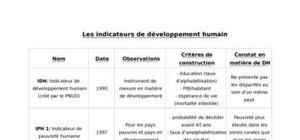 Les indicateurs de développement