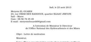 Lettre de motivation Office National
