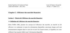Efficience des marchés financiers