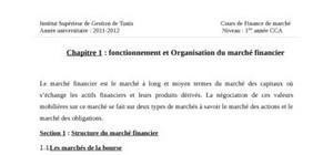Fonctionnement et organisation du marché financier