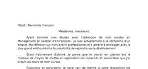 Lettre de demande d'emploi : candidature spontanée