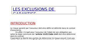 Les exclusions de garantie dans le contrat d'assurance