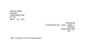 Lettre de motivation BTS Assistant Manager