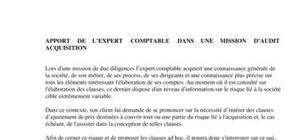 Apport de l'expert comptable dans une mission d'audit acquisition