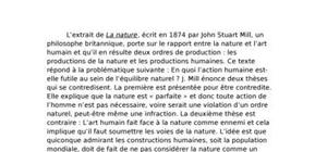 "Dissertation : extrait de ""la nature"" de john stuart mill"