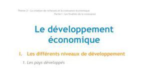 Doc - Le développement économique economie BTS1 - BURGLE