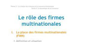 Doc - Le role des firmes mutlinationales economie BTS1 - BURGLE