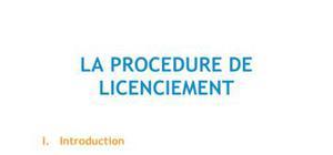La procédure de licenciement - DROIT