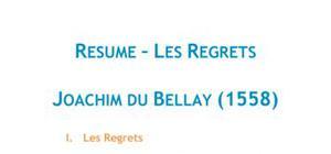 Les Regrets, Du Bellay - Fiche de lecture Français