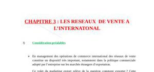 reseaux de vente a l'international