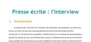 Presse écrite : l'interview - Journalisme Licence