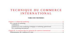 techniques du commerce international