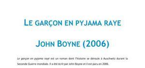 Le garçon en pyjama rayé, John Boyne - Fiche de lecture Français