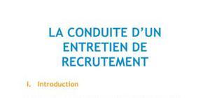 La conduite d'un entretien de recrutement - RH BTS AG