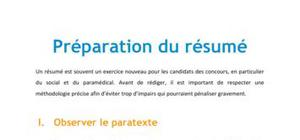 Préparation du résumé - Méthodo Concours Paramédical