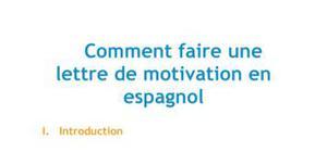 La lettre de motivation en espagnol - Méthodologie