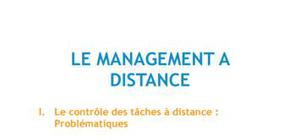 Le management à distance - Management Bac+3