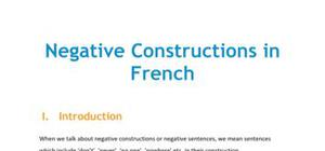Negative Constructions in French