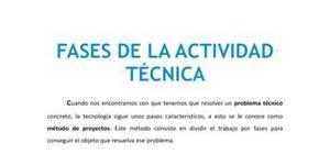 Las fases de la actividad técnica