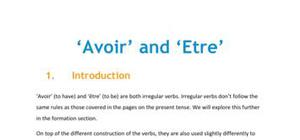 """Avoir"" and ""Etre"""