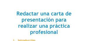 Redactar una carta de presentación para realizar una práctica profesional