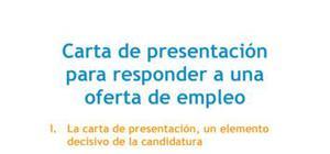 Carta de presentación para responder a una oferta de empleo