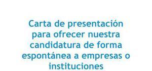 Carta de presentación para una candidatura espontánea