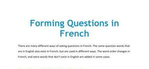 Lesson on the formation of questions in French
