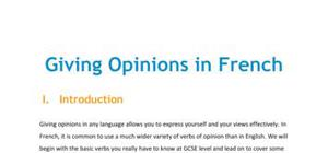Lesson on the expression of opinions in French