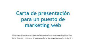 Carta de presentación para un puesto de marketing web