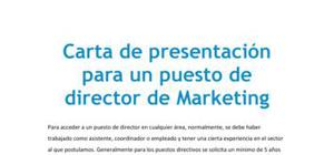 Carta de presentación para un puesto de director de Marketing