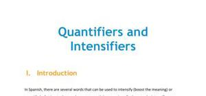 Lesson on quantifiers and intensifiers
