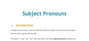 Lesson on subject pronouns