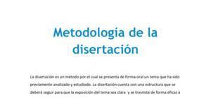 Metodología de la disertación