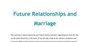 Future relationships and marriage