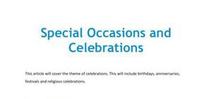 Special occasions and celebrations