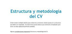 Estructura y metodología del CV