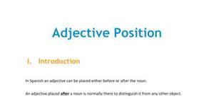 The adjective position