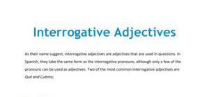 Spanish interrogative adjectives