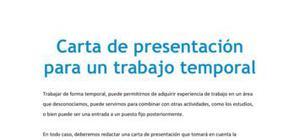 Carta de presentación para un trabajo temporal