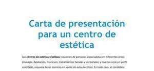 Carta de presentación para un centro de estética