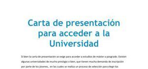 Carta de presentación para acceder a la Universidad