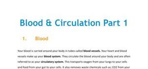 Blood and circulation - Part 1