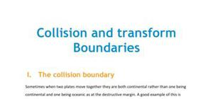 Collision and transform boundaries