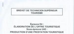 Sujet de Production d'une prestation touristique BTS 2015
