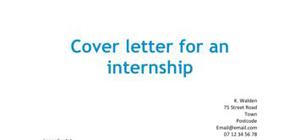 Cover letter for an internship
