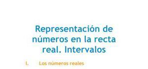Representación de números en la recta real : intervalos