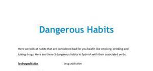 Dangerous habits in Spanish