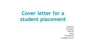 Cover letter for a student placement