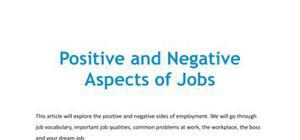 Positive and negative aspects of jobs in French